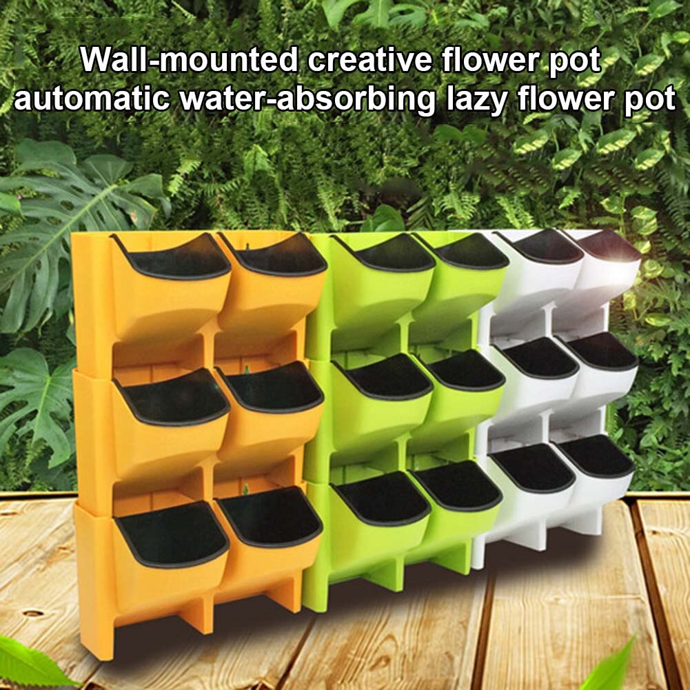 Self Watering Flower Pot Stackable Vertical Planter Wall Hanging Durable For Garden Balcony UYT Shop - Emporio Magno