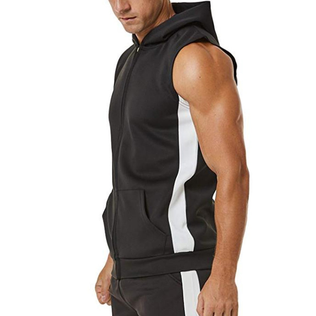 Men Zipper Splicing Sports Hooded Vest bodybuilding golds gym clothing musculation singlet fitness clothing - Emporio Magno