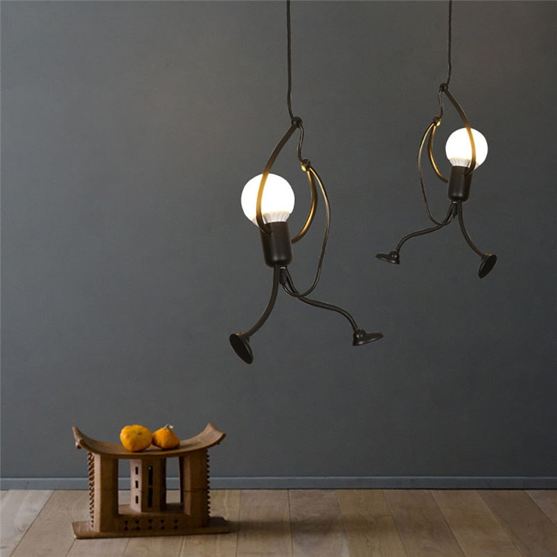Modern Charming Hanging Chandelier Creative Iron Pendant  Lamp For Indoor Lighting Swing Small Humanoid Chandelier - Emporio Magno