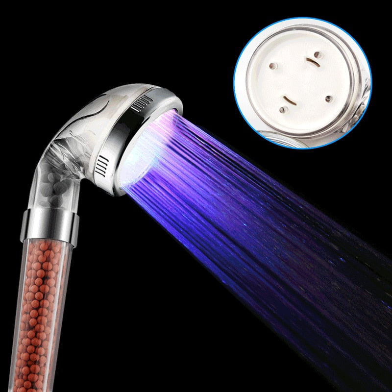 Hongdec Bathroom LED Multicolor 7 Colors Rainbow SPA Ionic Filter hand held Shower head - Emporio Magno
