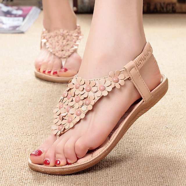 Women Sandals Flower Shoes Woman Flip Flops Fashion Summer Flat Sandals Bohemian Ladies Sandals Casual Women Shoes - Emporio Magno