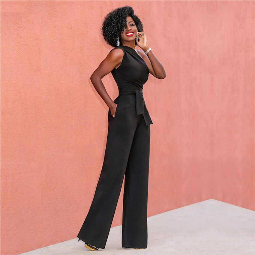 Women Off Shoulder Casual Jumpsuits Wide Leg Pants Summer Elegant Rompers Womens Jumpsuit Party Overalls Female - Emporio Magno