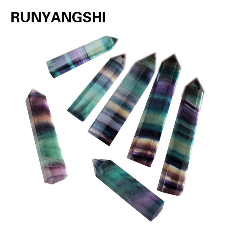 100% Natural Fluorite Crystal Colorful Striped Fluorite Quartz Crystal Stone Hot Point Healing Hexagonal Wand Treatment Stone - Emporio Magno