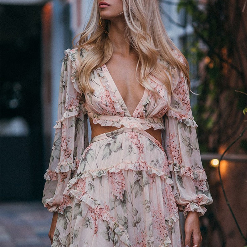 High Quality  Summer V-neck Sexy Backless Long Sleeve Floral Print Mini Dress - Emporio Magno