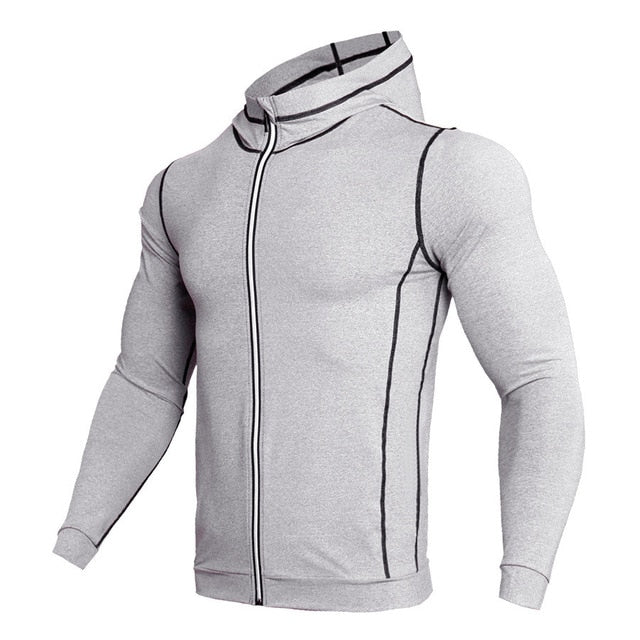 New Rashgard Hooded Sport Shirt Men Long Sleeve Zipper Running T Shirt Men Hoody Compression Shirt Gym Tshirt Fitness Top - Emporio Magno
