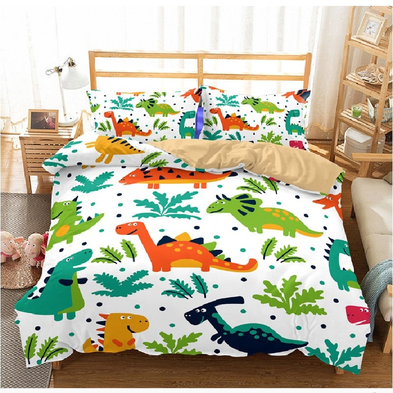 creative style home textile digital printing dinosaur pattern bedding set Europe and America King size 3 pcs bedding - Emporio Magno