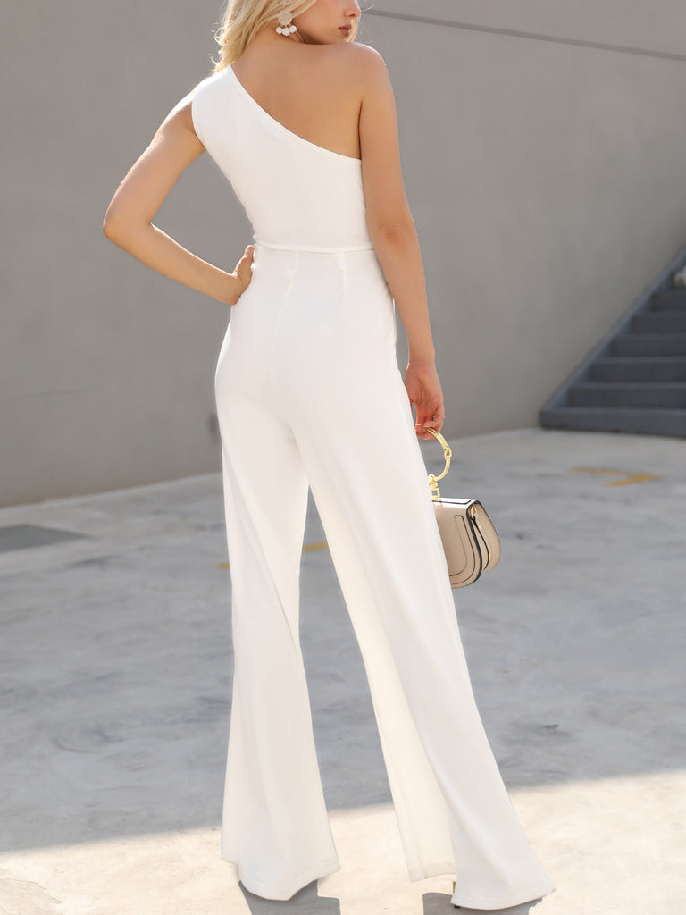 Summer Elegant Office Women White Casual Jumpsuit One Shoulder Female CutOut Tie Waist Wide Leg Jumpsuit - Emporio Magno