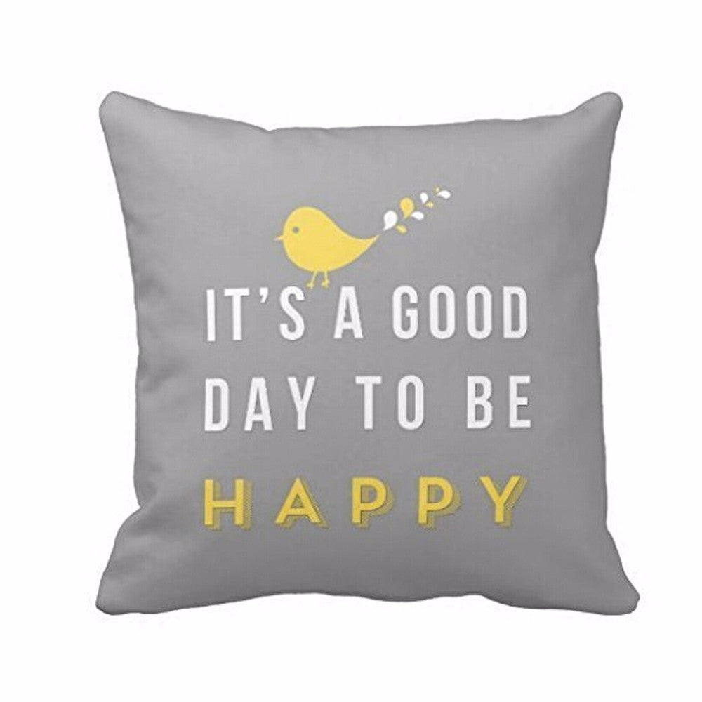 IT'S A GOOD DAY TO BE HAPPY-Yellow Bird Letter Cushion Cover Nordic Style Grey Square Throw Pillow Case - Emporio Magno
