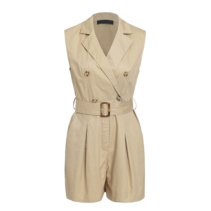 women rompers Elegant sashes khaki playsuit Summer womens jumpsuit Office ladies playsuit pockets button zipper rompers - Emporio Magno
