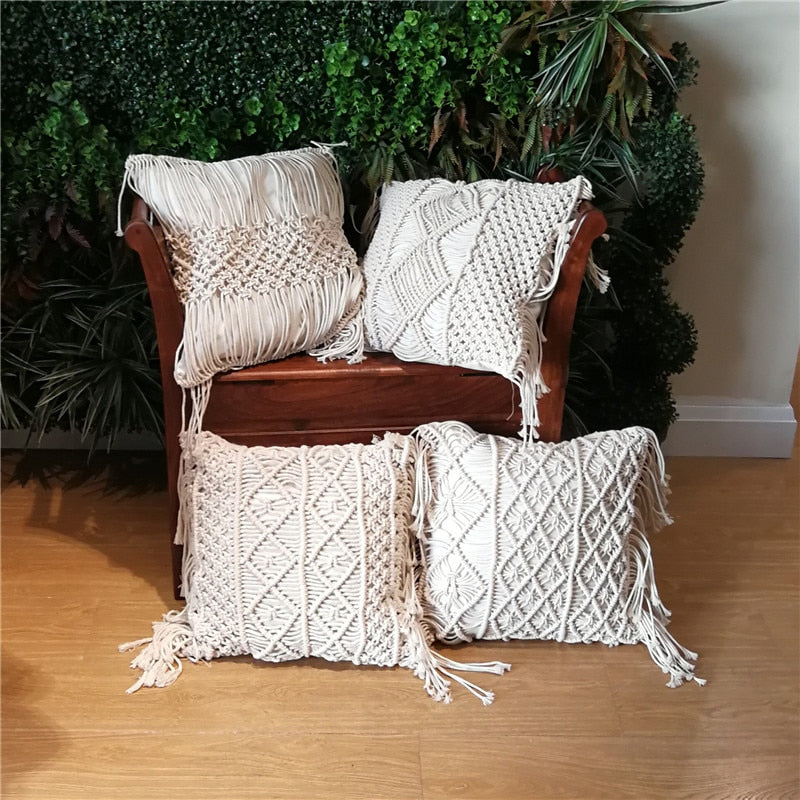Nordic Handmade Home Decor Knitted Decorative Pillows Cushion Cover with Tassel Crocheted Sofa Bed Pillow Case 45x45cm White Boh-in Cushion from Home & Garden on Aliexpress.com | Alibaba Group - Emporio Magno