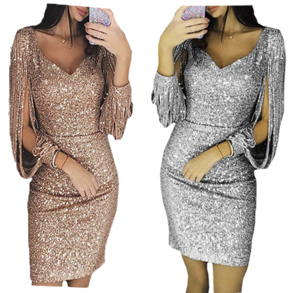 Women Knee Length Party Dress Gold Tassel Dresses Female Bodycon Long sleeve Bright Silk Shiny Dress Vestidos - Emporio Magno