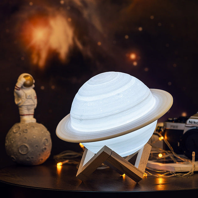 Rechargeable 3D Print Saturn Lamp Like Moon Lamp Night Light For Moon light with 2Colors 16Colors Remote Gifts - Emporio Magno