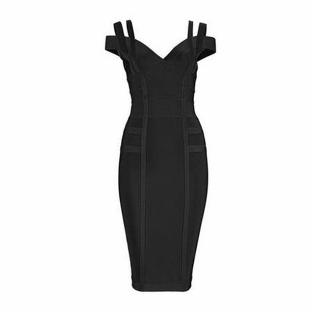 Bodycon Bandage Dress Women Celebrity Party Spaghetti Strap Off Shoulder V-Neck Night Out Dress Women Vestidos - Emporio Magno