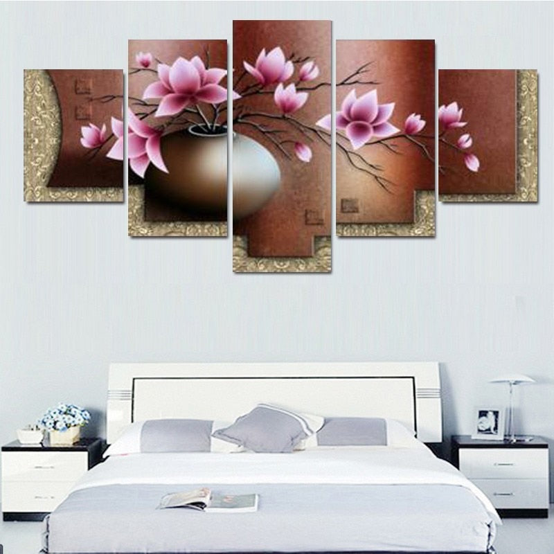5 Panel Canvas Wall Art Decor Modern Decorative Picture Vintage Flower Canvas Painting Wall Pictures for Living Room - Emporio Magno