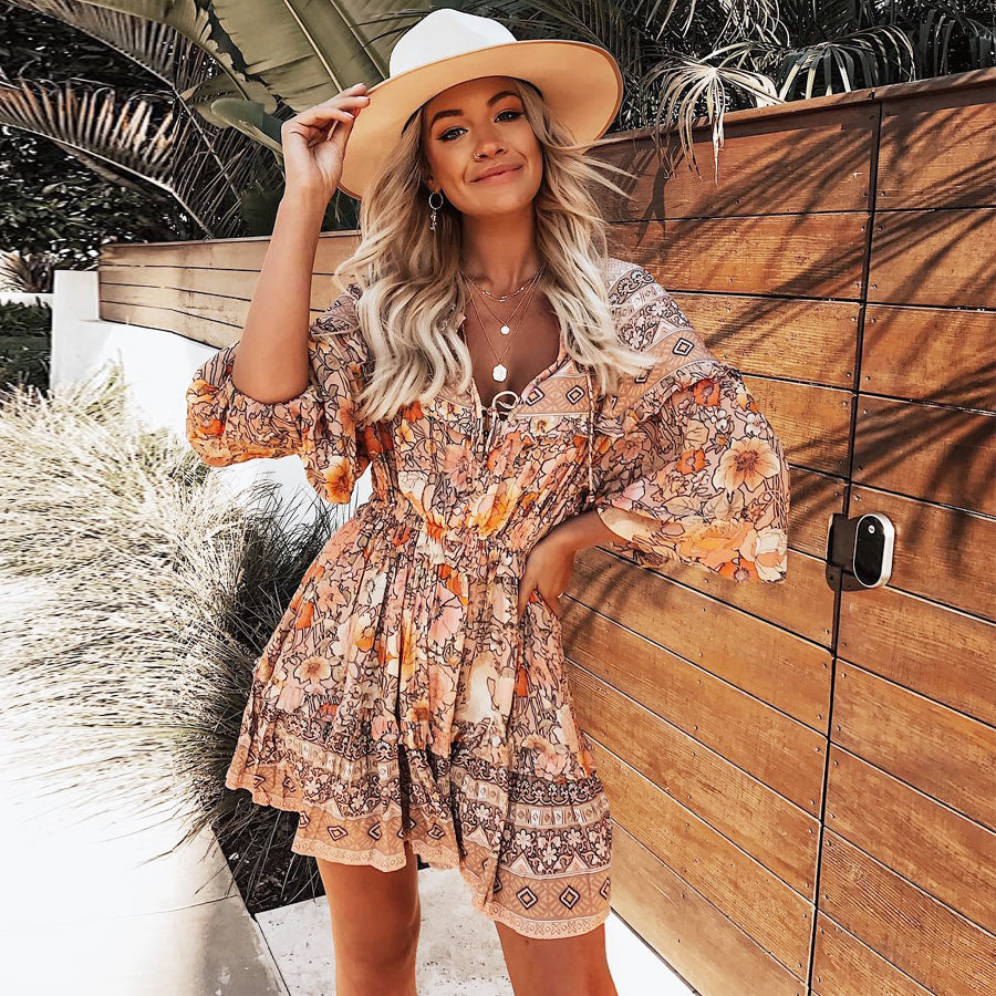 Gypsy dress 2019 rayon amathyst floral print summer Dresses mini short women dresses garden party BOHO Dress - Emporio Magno