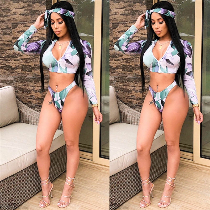 Bikini Push up Padded Zipper Crop Top Swimsuit Bathing Swimsuit  Swimming Suit For Women Two Piece Suits - Emporio Magno