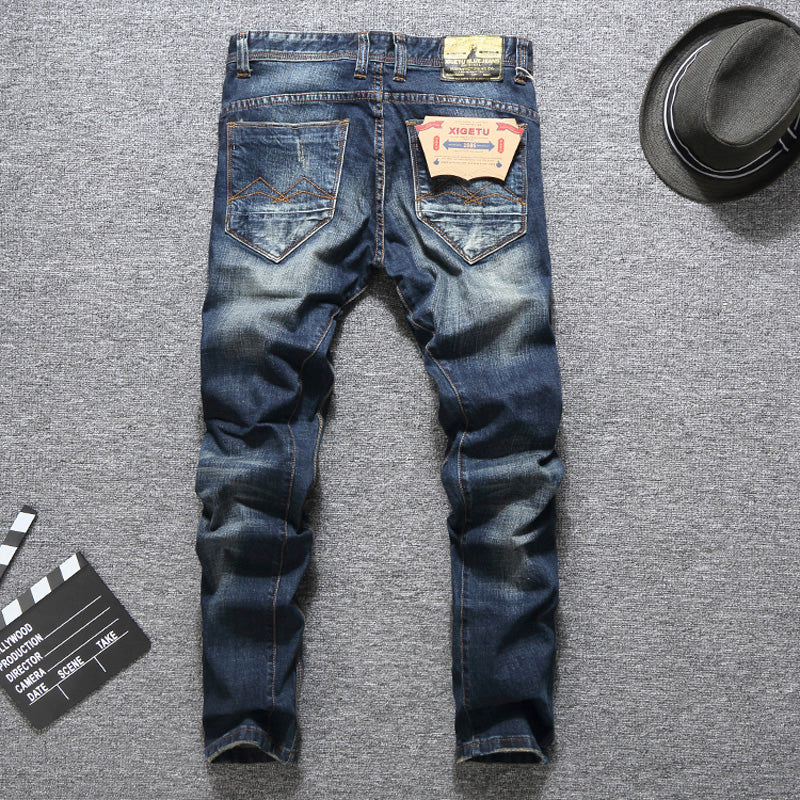 Blue Color Men Jeans Slim Fit Patckwork Cotton Long Pants Ripped Jeans High Quality Brand Jeans Men - Emporio Magno
