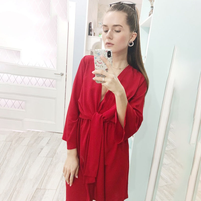 Vintage long sleeve chiffon summer dress women Black bow office bandage dresses Sexy red female ladies short Dress - Emporio Magno