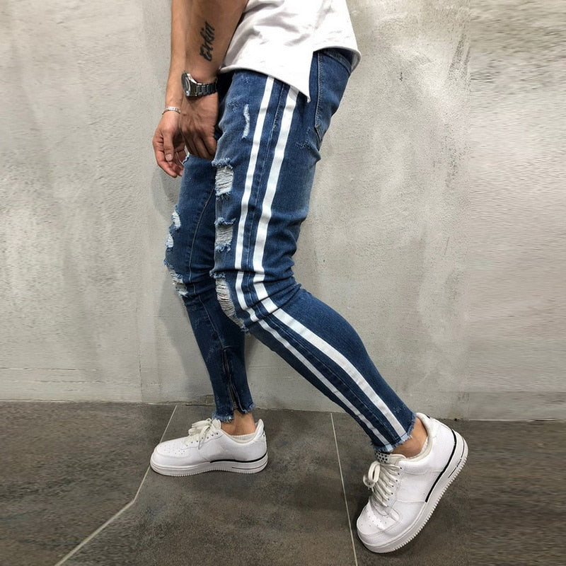 2019 Ripped Side Striped Jeans Fashion Streetwear Mens Skinny Stretch Jeans Pants Slim Casual Denim Jeans jeans hombre - Emporio Magno