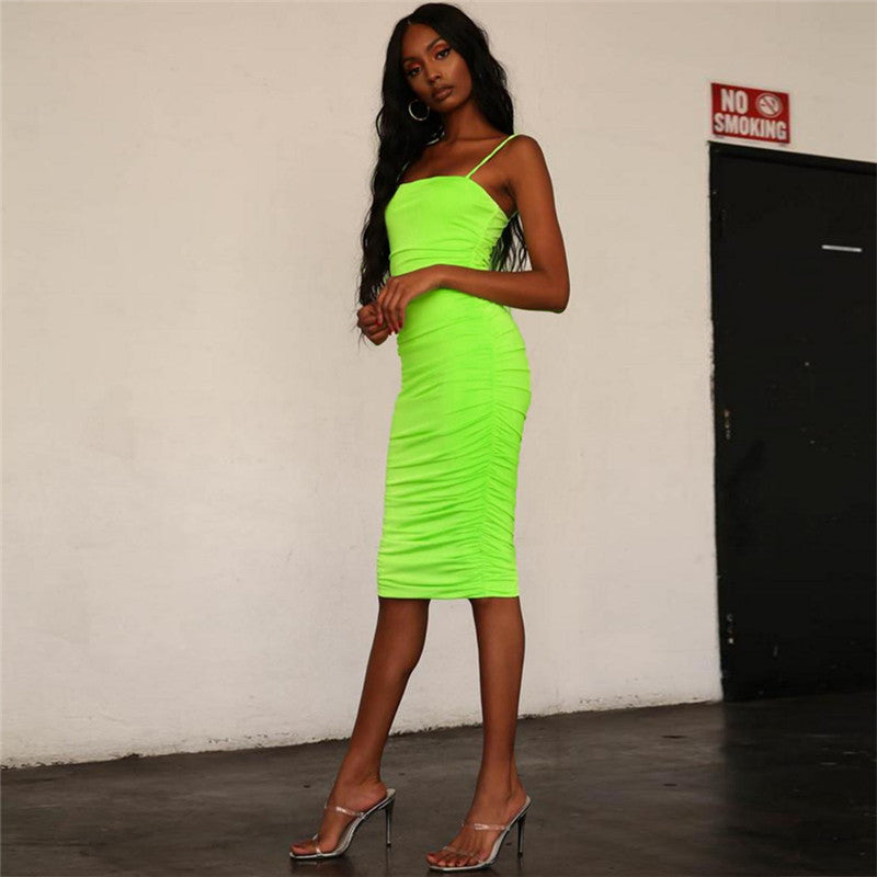 Simenual Strap sleeveless  bodycon dress neon color ruched casual summer dress women tank shoulder Dresses - Emporio Magno