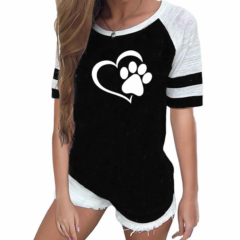 2019  Fashion Love Dog Paw Print Top Shirt Women Plus Size Raglan Pink T-shirt  Tumblr Cropped Cute - Emporio Magno
