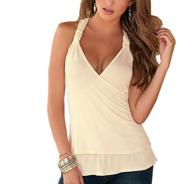 Summer Women Top Female Halter Neck Strapless Tank Shirt Sexy Backless Lace Stitching Vest Plus Size - Emporio Magno