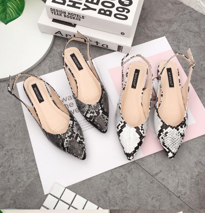 Sandals Women Flat Shoes Snake Fashion Close Toe Pointed Toe Sandals Female Designer Shoe - Emporio Magno