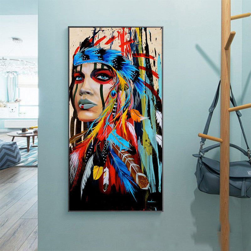 HD printed 1 piece Free shipping canvas art native American Indian warrior art Painting feathered wall pictures for living room - Emporio Magno
