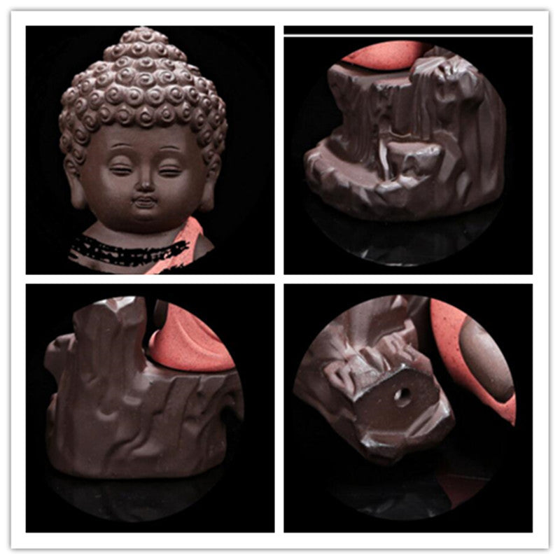 The Little Monk Censer Creative Home Decor Small Buddha Incense Holder Backflow Incense Burner Use In Home Office Teahouse - Emporio Magno