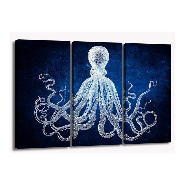 Pure Color Octopus Canvas Wall Art Print Animals Painting for Office Room Wall Art Retro Cuttlefish Squid Marine Life Home Decor - Emporio Magno