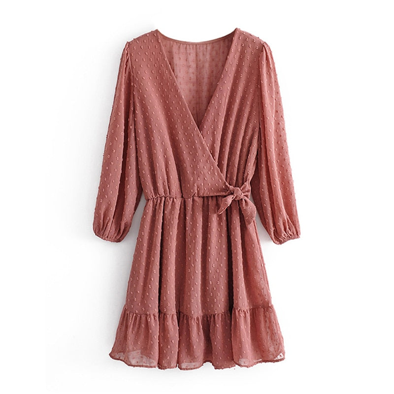 Summer Women Ruffles Lace Chiffon Dress Boho Mini Beach Dress Three Quarter Sleeve Ladies Party Dresses - Emporio Magno