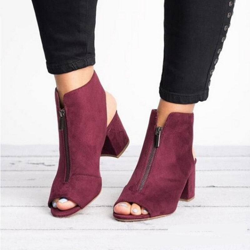 Ankle Boots Faux Suede Leather Casual Open Peep Toe High Heels Zipper Square Rubber Women Shoes - Emporio Magno