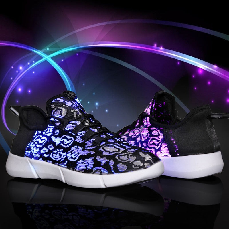Summer Led Fiber Optic Shoes for Girls Boys Men Women USB Recharge Glowing Sneakers Man Light Up Shoes Sports Shoes - Emporio Magno