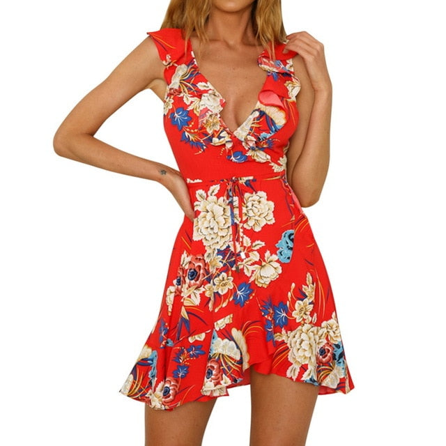 Summer Dress Women Sexy Beach Party Mini Sundress Floral Vintage Print Beach Dress - Emporio Magno