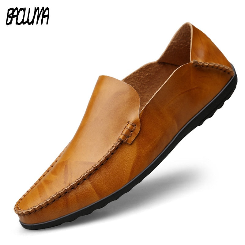 Men Designer Man Casual Shoes Brand Genuine Split Leather Shoes Italy Men Sneakers Non-slip Loafers Flats Driving Men Shoes - Emporio Magno