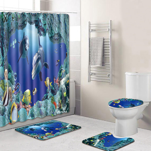 Ocean theme pattern bathroom shower curtain carpet toilet mat 4PCS Non Slip Toilet Polyester Cover Mat Set Shower Curtain - Emporio Magno