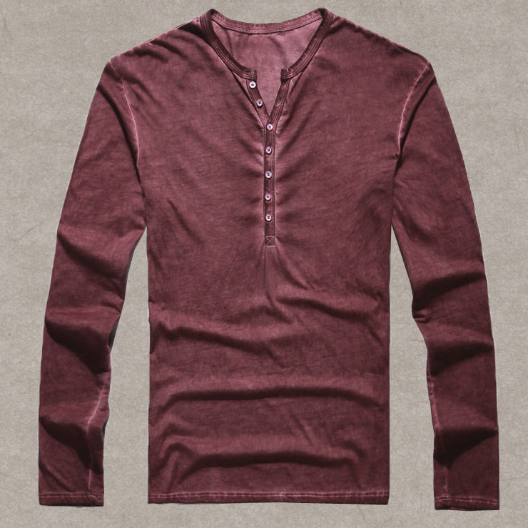 Brand Designer Men Cotton Vintage Henry T Shirts Casual Long Sleeve High quality Men old color Cardigan T shirt - Emporio Magno