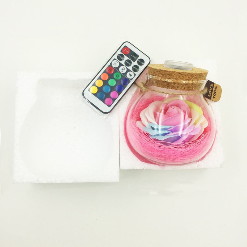 LED RGB Dimmer Lamp Bulb Rose Flower Bottle Light Creative Romantic Holiday Valentine's Day Gift +16 Colors Remote - Emporio Magno