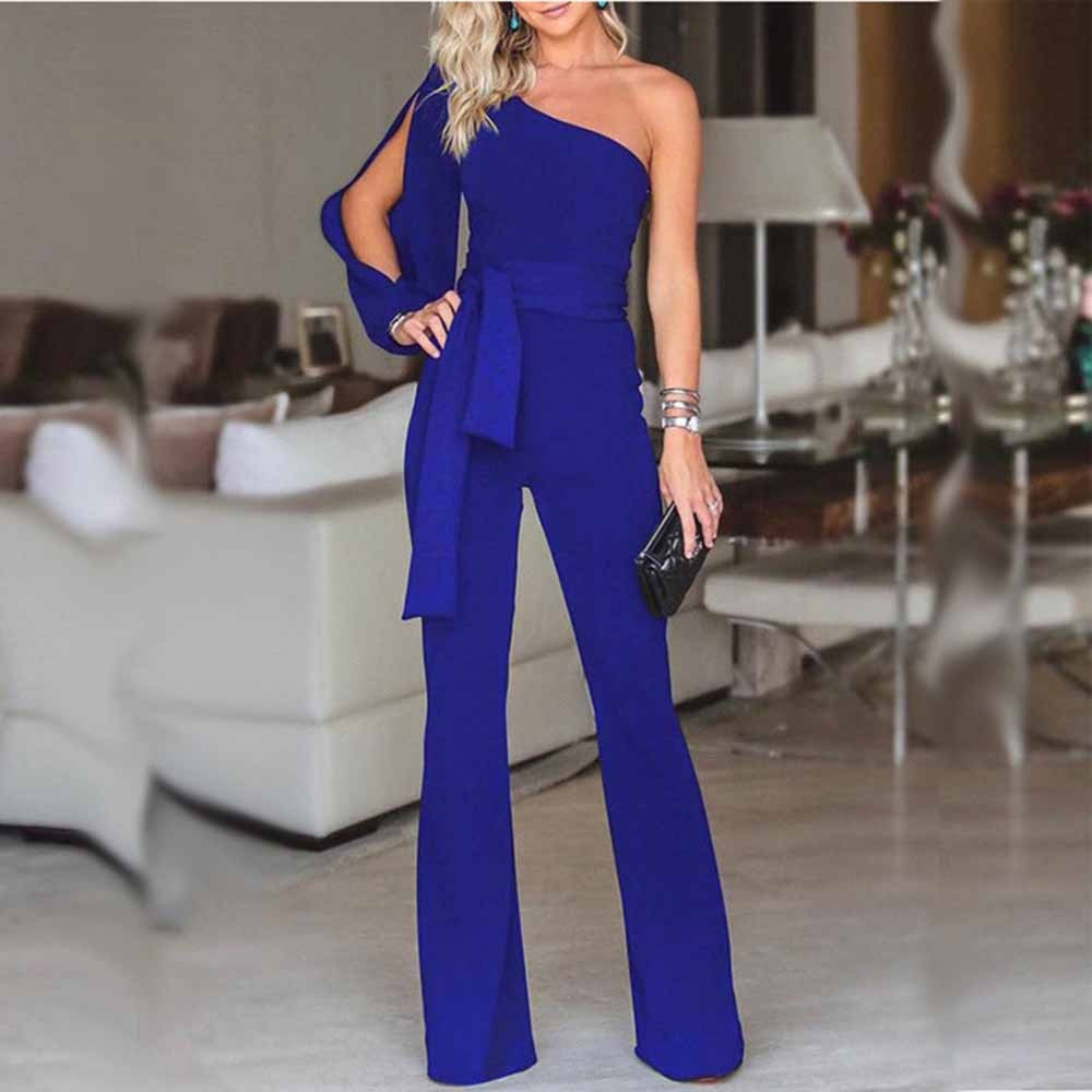 Womail bodysuit Women Summer Casual Solid Long Sleeve Cold Shoulder Jumpsuit Clubwear Wide Leg Jumpsuit - Emporio Magno