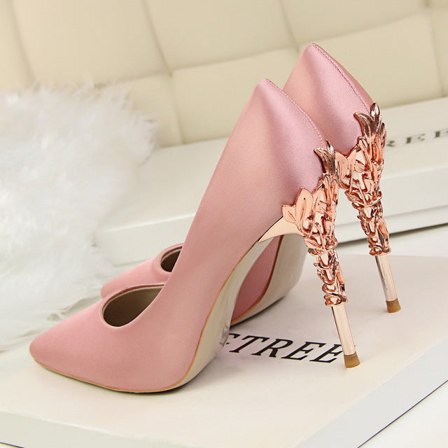 Metal Heel Flower High Shoes Silk Elegant Pumps Women Heels Shoes - Emporio Magno