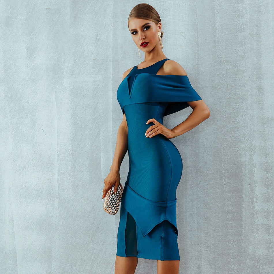 Summer Women Bandage Dress Vestidos  Off Shoulder Hollow Out Midi Bodycon Clubwears Celebrity Evening Party Dress - Emporio Magno