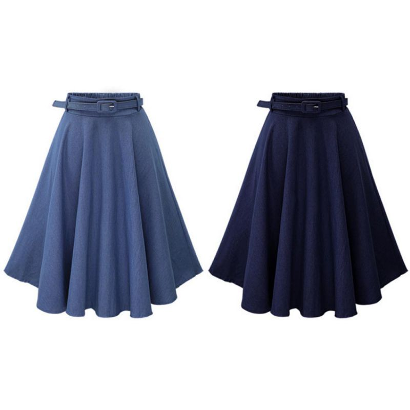 2Summer Autumn Women Denim Jeans Skirts A line Casual Skirt High Elastic Waist Streetwear Midi Pleated Female Clothing - Emporio Magno