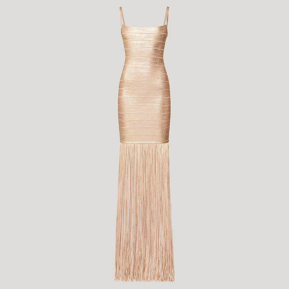 Summer Maxi Tassels Women Bandage Dress Vestidos Sleeveless Fringe Club Dress Celebrity Evening Party Dress - Emporio Magno