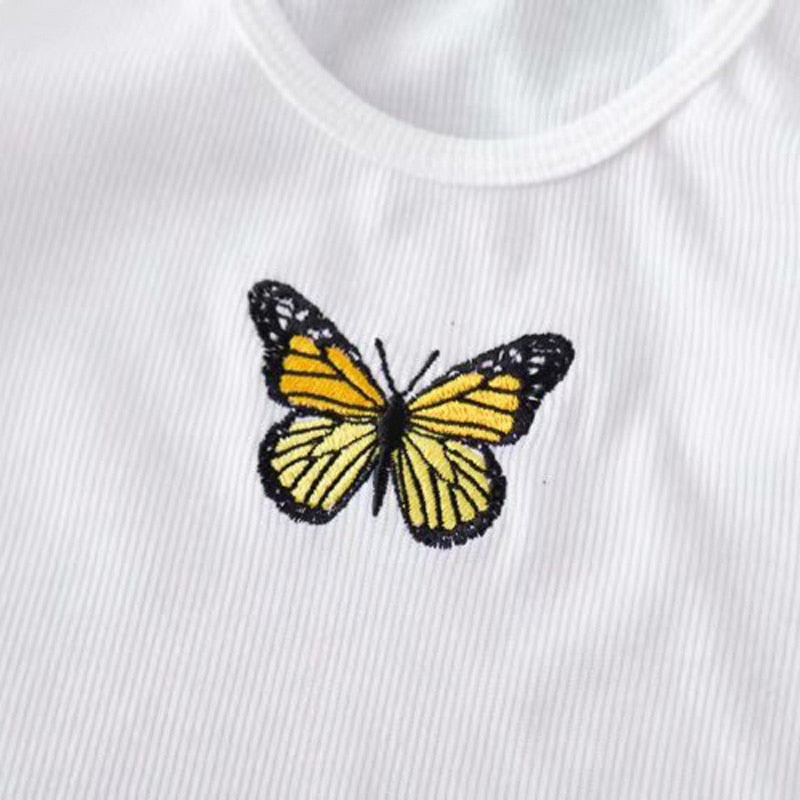Sexy butterfly embroidery Women Streetwear Summer Cropped - Emporio Magno