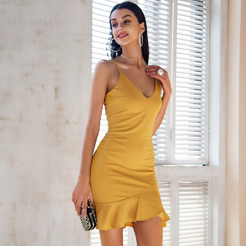 Sexy v neck ruffle strap mini dress women Skinny yellow mermaid dress 2018 Summer dress bodycon party vestido - Emporio Magno