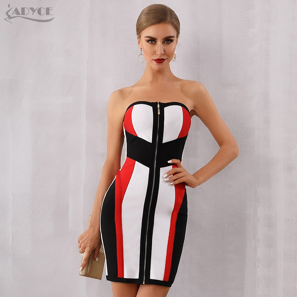 Bodycon Bandage Dress Women Vestidos Verano 2019 New Summer Strapless Midi Club Dress Runway Celebrity Evening Party Dress - Emporio Magno