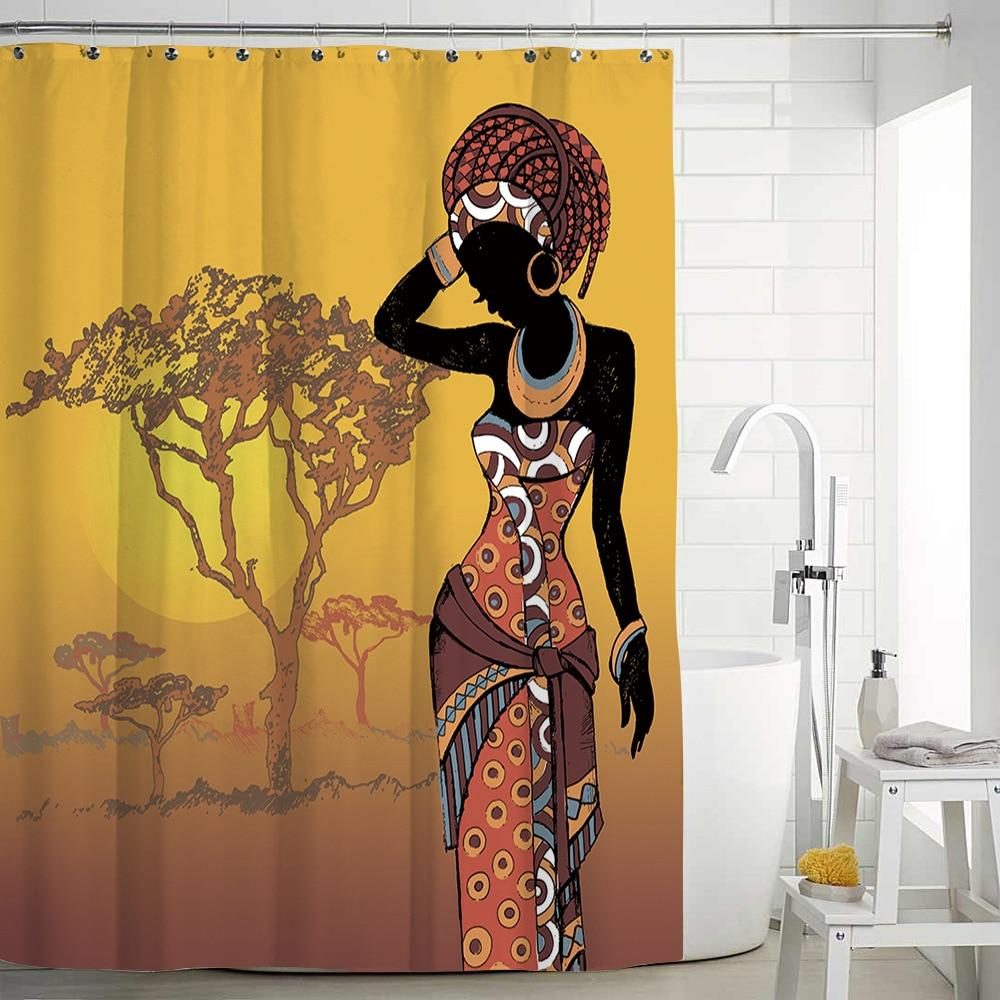 African Women Girls Printed Curtains Washable Waterproof Shower Curtains - Emporio Magno