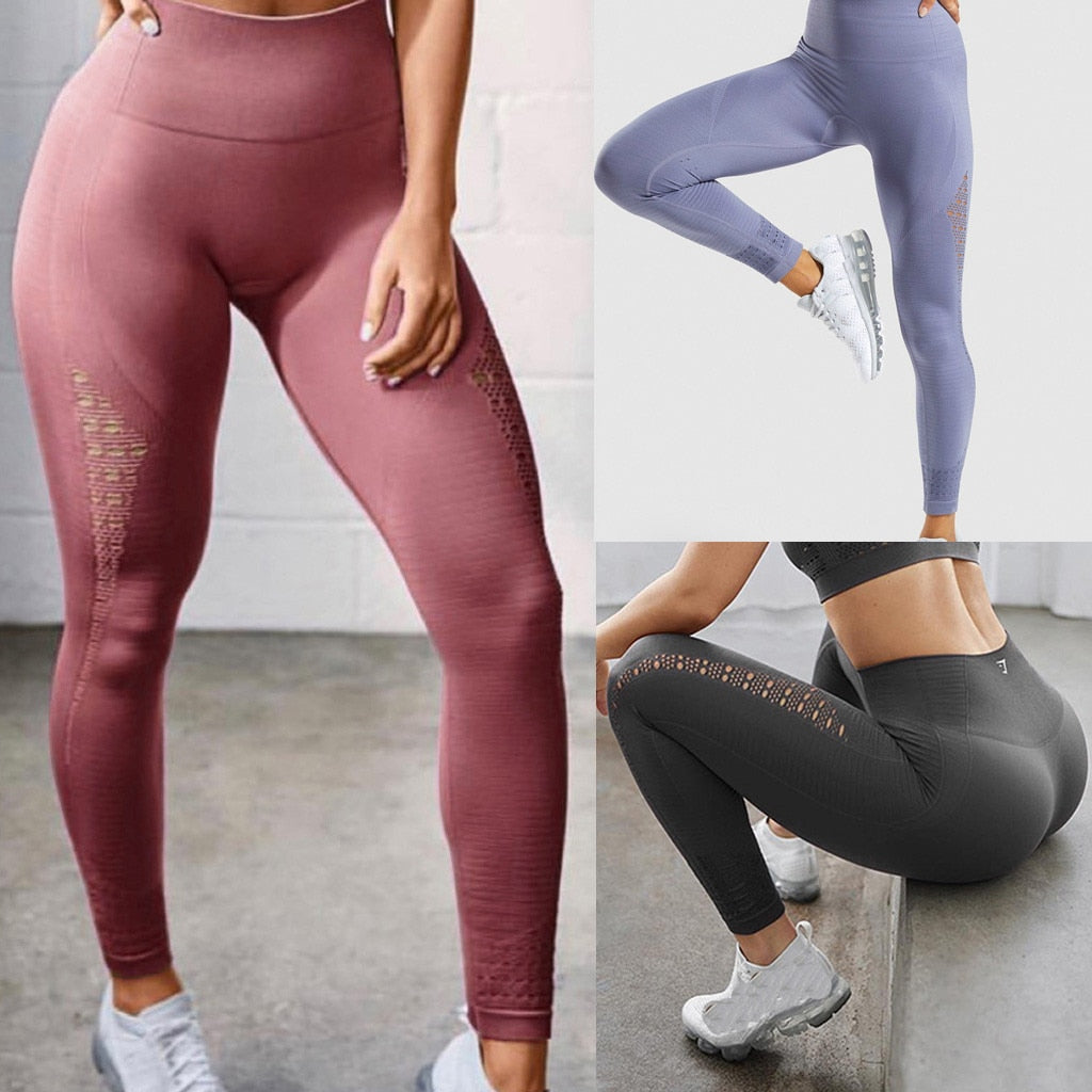 Summer Full Length Solid Yoga Trousers Women High Waist Trousers Gym Shark Running Leggings Women - Emporio Magno