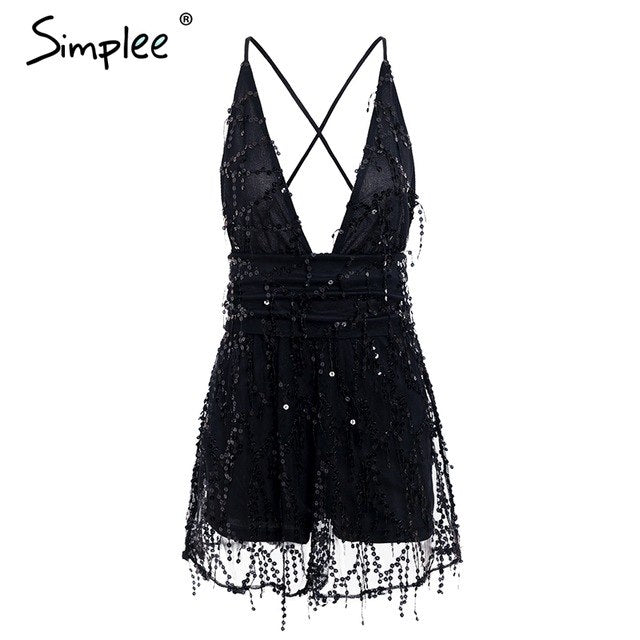 v-neck sequined  mesh women playsuit elegant Backless lining ladies short jumpsuit High wasit tassel overalls - Emporio Magno