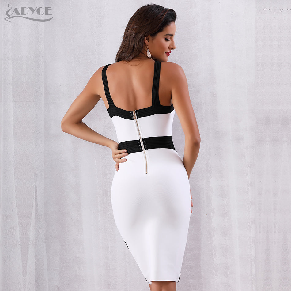 Summer Women Bandage Dress Vestidos Celebrity Party Dress  White Spaghetti Strap Midi Bodycon Club Dresses - Emporio Magno